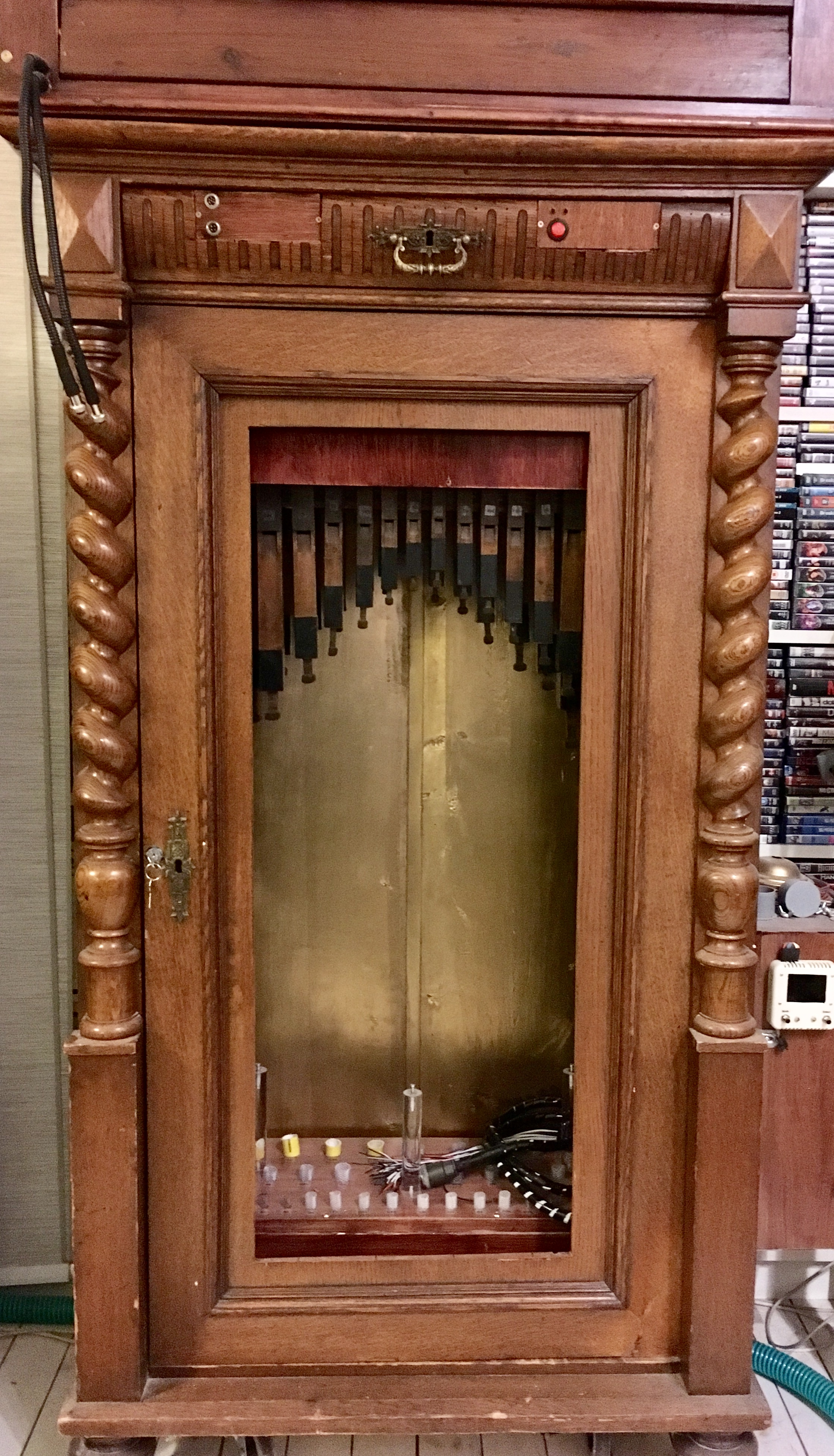 The PipeMare cabinet with the flutes installed